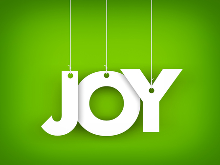 Word JOY hanging on the ropes on green background. 3d illustration