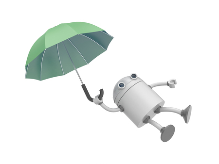 robot with shield: The robot is flying on the umbrella. 3d illustration Stock Photo