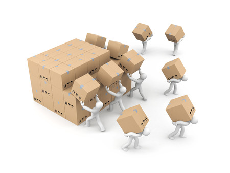 lading: People unload a bunch of boxes. Parcel delivery. 3d illustration