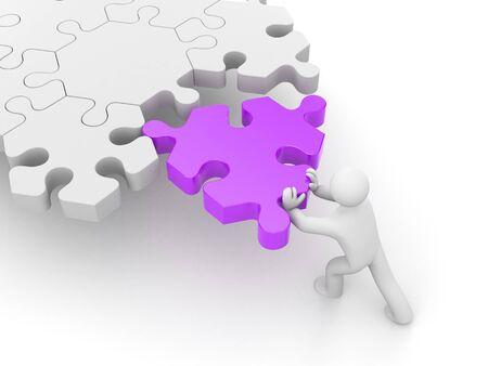 metaphor: 3d man push puzzle. Metaphor for business Stock Photo