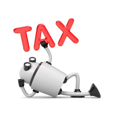 robot with shield: The robot video camera inspects the taxes. 3d illustration