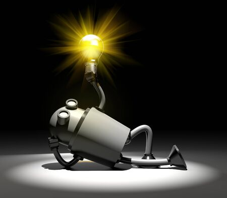 Robot with lightbulb. I have idea metaphor. 3d illustration Stock Photo