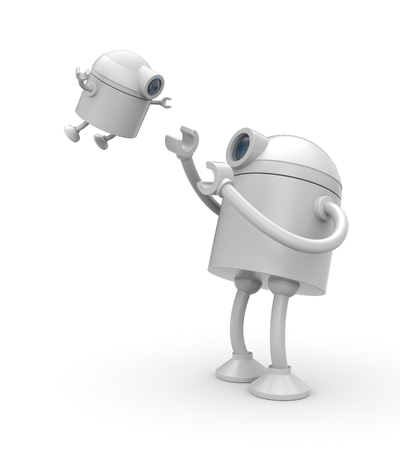 The robot plays with his son. 3d illustration Stock Photo