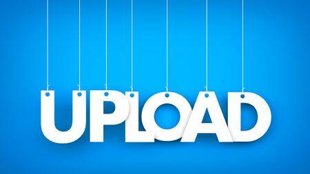Word Upload hanging on blue background. 3d illustration Stock Photo