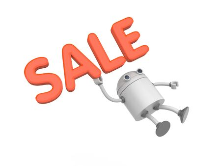 Robot with word sale. 3d illustration Stock Photo
