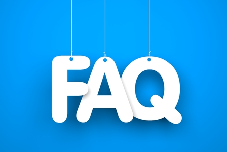 Frequently asked questions - word hanging on the strings Stockfoto