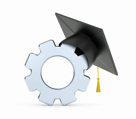 Gear and graduation cap. 3d illustration Stock Photo
