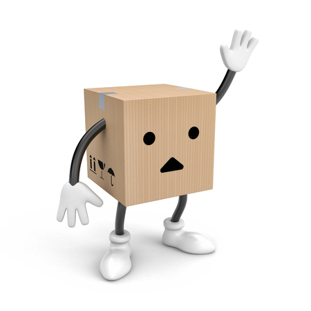 box open: Character cardboard box says bye(or Hello). 3d illustration