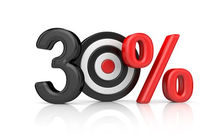 Targets form the number 100 percent. Accurate shot metaphors. 3d illustration Stock Photo