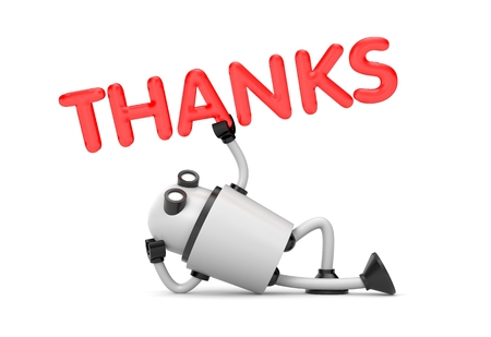 thankyou: Robot is in a relaxed position holds the word - Thanks. 3d illustration