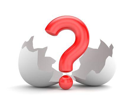 new idea: New idea - question and broken chicken egg. 3d illustration