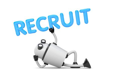 recruit: Robot is in a relaxed position holds the word - Recruit. 3d illustration