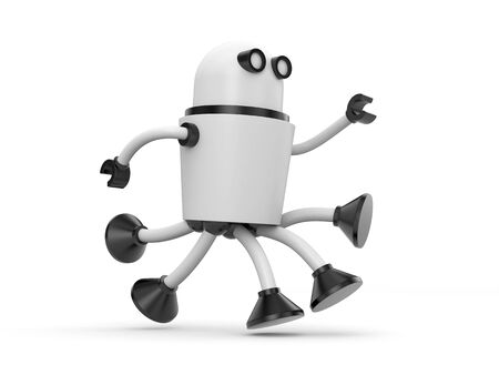 metal legs: Robot in a hurry somewhere. 3d illustration