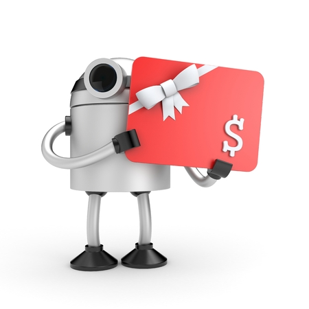 Robot with gift card. 3d illustration Stock Photo