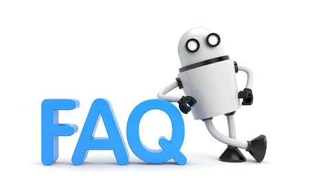 bot: Robot with word FAQ. 3D illustration
