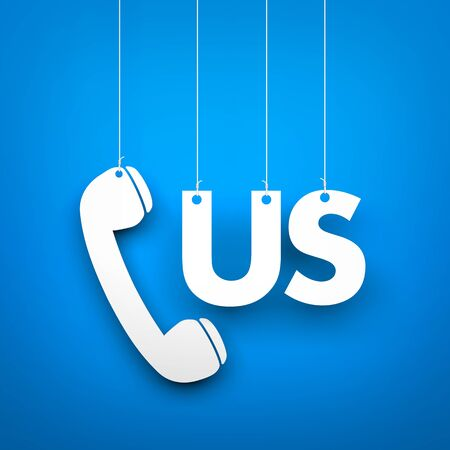 call us: CALL US - word hanging on blue background. 3d illustration