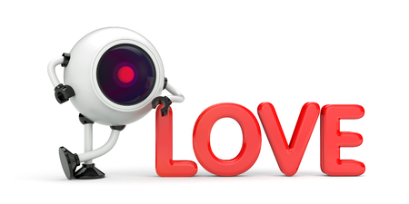 Love under the supervision. 3d illustration Stock Photo