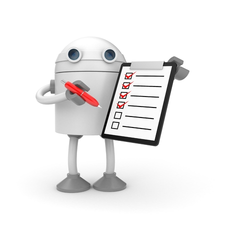board: Robot with clipboard and red checkmark. 3d illustration Stock Photo