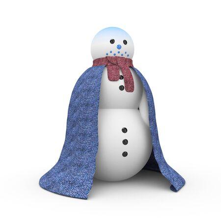 woollen: Snowman which was very cold. Snowman is dressed in a woollen cloak. 3d illustration