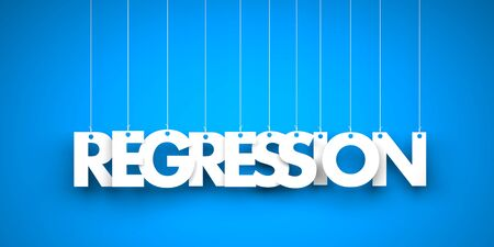 regress: White word REGRESSION on blue background. 3d illustration Stock Photo