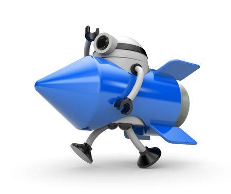 infirmity: Robot suit rocket runs somewhere. 3d illustration