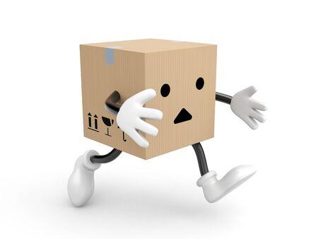 box open: Character cardboard box run. 3d illustration Stock Photo
