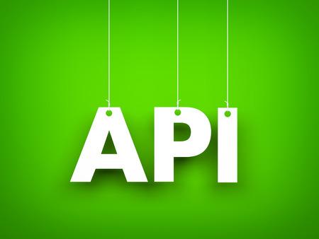 White word API on green background. New year illustration. 3d illustration