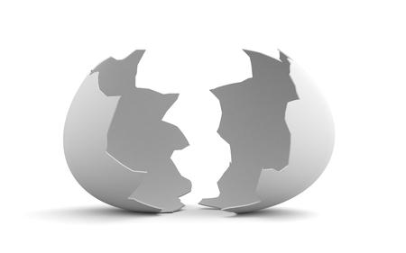 Broken egg shell isolated on white background. 3d illustration Stock Photo