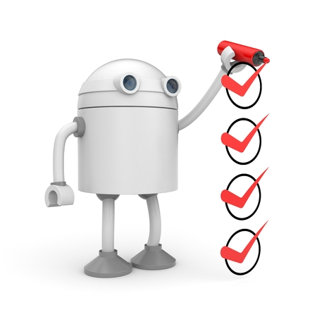 Robot and red checkmarks. Checklist metaphor. 3d illustration Stock Photo