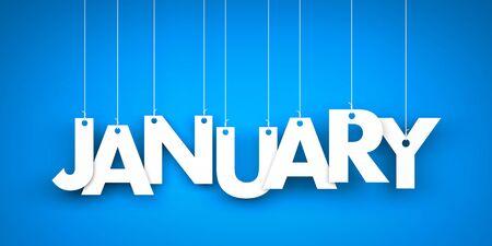 White word January on blue background. New year illustration. 3d illustration