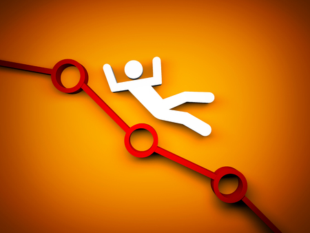 White person falls on chart. 3d illustration Stock Photo