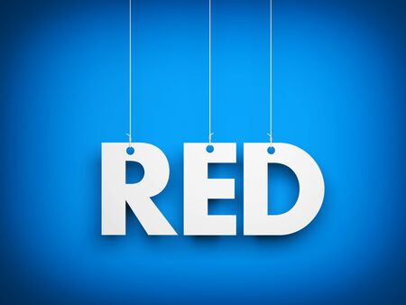 red white and blue: White word RED on blue background. 3d illustration