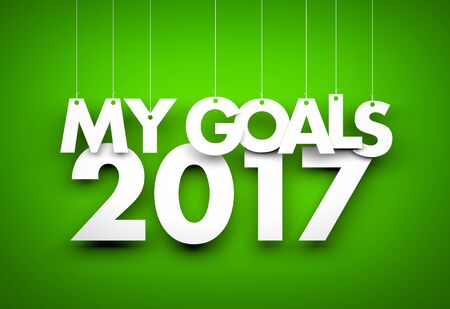 goal achievement: Goals in new year 2017 - word hanging on green background. 3d illustration