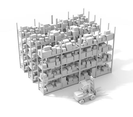 Almacén con montacargas. 3d ilustración Foto de archivo - 72213087