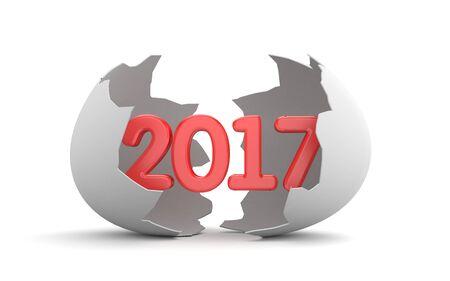 Broken egg shell with word 2017 inside. 3d illustration Stock Photo