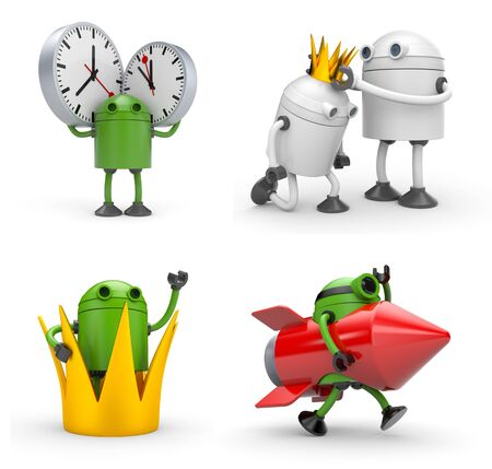 Robot with various situations. Robot with crown, robot with rocket, robot with watches. 3d illustration