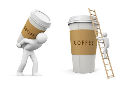 Person carries a cup of coffee. 3d illustration Stock Photo