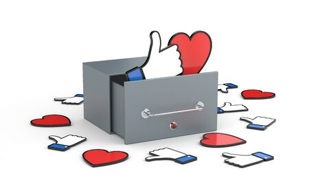 po: Mailbox with heart and thumb up symbols - social networks concepts. Social networks metaphor. 3d illustration