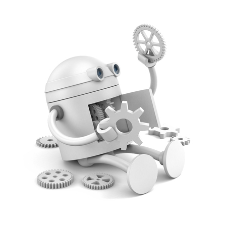 Broken robot considers the details of its mechanism for your website projects. 3d illustration Archivio Fotografico