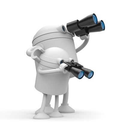 Robots looks in binocular. Maybe its a father(mother) and son. 3d illustration