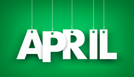 tonto: Palabra de blanco APRIL sobre la fondo verde. ilustración año nuevo. 3d ilustración Foto de archivo