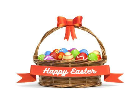 Basket full of colored Easter eggs with banner. 3d illustration
