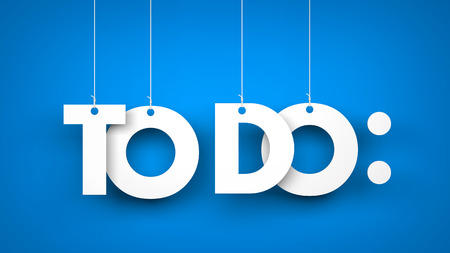 todo list: TO DO - words hanging on blue background. 3d illustration Stock Photo