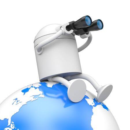 The robot looks to the future through binoculars. 3d illustration Stock Photo