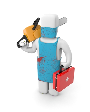 Doctor with a chainsaw in bloody clothes. 3d illustration Stock Photo