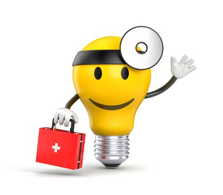 diagnosis: Character light bulb dressed as a doctor. 3d illustration