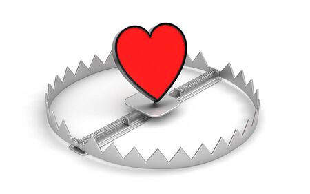 bear trap: Steel bear trap with red heart symbol isolated on white. 3d illustration Stock Photo