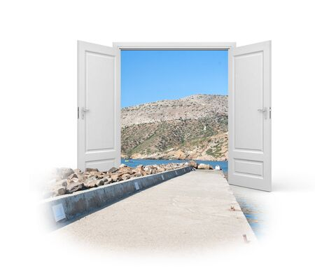 promenade: Doors are open for travelers. Concept - the way to holidays. 3d illustration