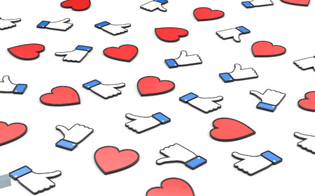 Hearts and thumbs up symbols - social networks concepts. Social networks metaphor. 3d illustration Stock Photo