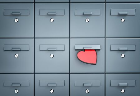 po: Mailbox with heart - love letter. 3d illustration